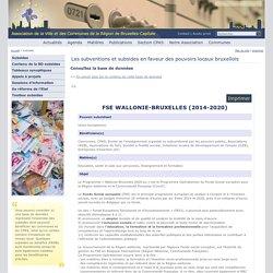 Les subventions et subsides en faveur des pouvoirs locaux bruxellois