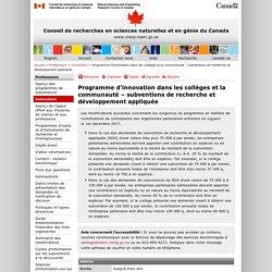 CRSNG – Programme d'innovation dans les collèges et la communauté – subventions de recherche et développement appliquée