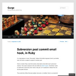 Blog Archive » Subversion post commit email hook, in Ruby