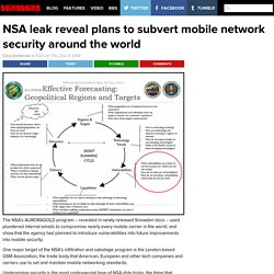 NSA leak reveal plans to subvert mobile network security around the world