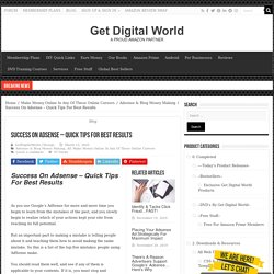 Success On Adsense – Quick Tips For Best Results