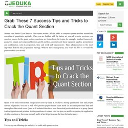 Grab The Success:Tips and Tricks to Crack the Quant Section