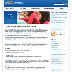 TOEIC® Success Story: University of Toronto