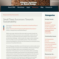 Small Town Successes Towards Sustainability