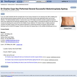 Dr Charles Cope Has Performed Several Successful Abdominoplasty Sydney - Sydney health/wellness services - backpage.com