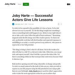 Joby Harte — Successful Actors Give Life Lessons