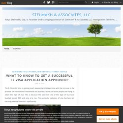 What to know to get a successful E2 visa application approved? - Stelmakh & Associates, LLC