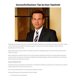 Successful Business Tips by Dean Topolinski