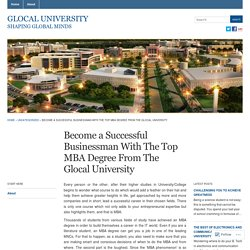 Become a Successful Businessman With The Top MBA Degree From The Glocal University « Glocal University