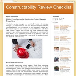 5 Skills Every Successful Construction Project Manager Should Have