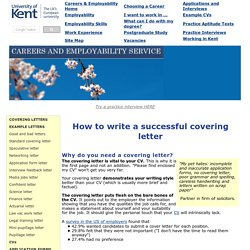 How to write a successful covering letter