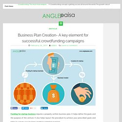 Business Plan Creation- A key element for successful crowdfunding campaigns