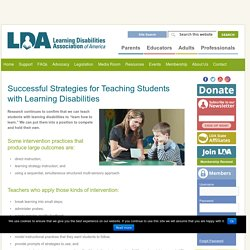 Successful Strategies for Teaching Students with Learning Disabilities