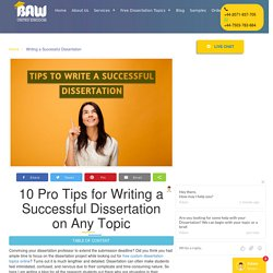 Writing a Successful Dissertation