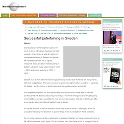 Successful Entertaining in Sweden and Doing Business in Sweden