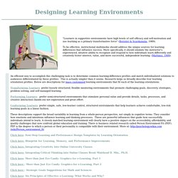Successful Learning - Designing Learning Environments