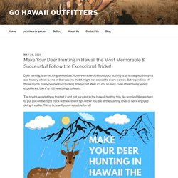 Make Your Deer Hunting in Hawaii the Most Memorable & Successful! Follow the Exceptional Tricks! – Go Hawaii Outfitters