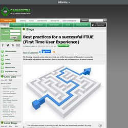 Pascal Luban's Blog - Best practices for a successful FTUE (First Time User Experience)