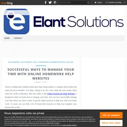 Successful Ways to Manage Your Time with Online Homework Help Websites -