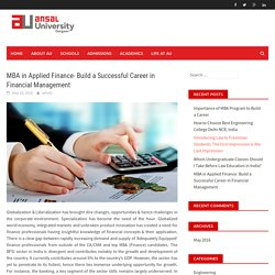 MBA in Applied Finance- Build a Successful Career in Financial Management