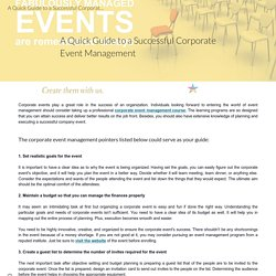 A Quick Guide to a Successful Corporate Event Management
