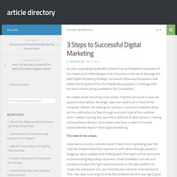 3 Steps to Successful Digital Marketing – article directory