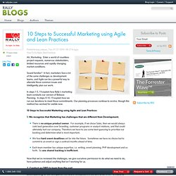 10 Steps to Successful Marketing using Agile and Lean Practices