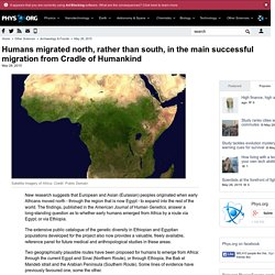 Humans migrated north, rather than south, in the main successful migration from Cradle of Humankind