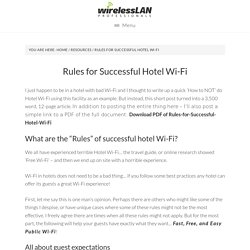 Rules for Successful Hotel Wi-Fi