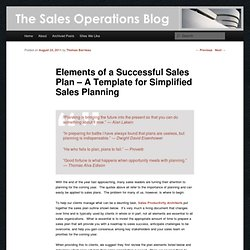 Elements of a Successful Sales Plan – A Template for Simplified Sales Planning