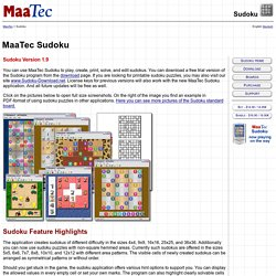 Sudoku - Play MaaTec Sudoku - Change and solve Sudokus