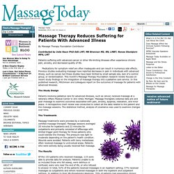 Massage Therapy Reduces Suffering for Patients With Advanced Illness