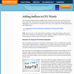 Adding Suffixes to CVC Words (Free Phonics Worksheet)