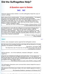 Website for Stage 2 of the assignment - John D Clare Did the Suffragettes help women's suffrage?