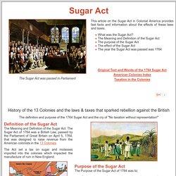 Sugar Act of 1764 ***
