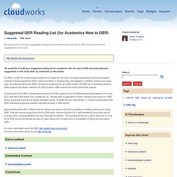 Suggested OER Reading List (for Academics New to OER)