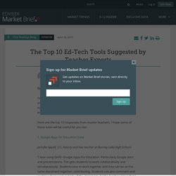 The Top 10 Ed-Tech Tools Suggested by Teacher Experts - Market Brief