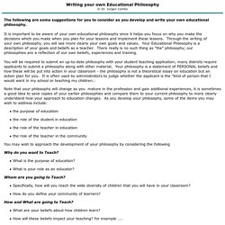 Suggestions for Writing Your Own Educational Philosophy