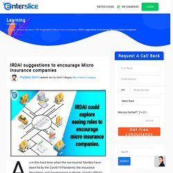 IRDAI suggestions to encourage Micro insurance companies