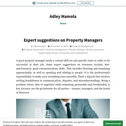 Expert Suggestions on Property Managers