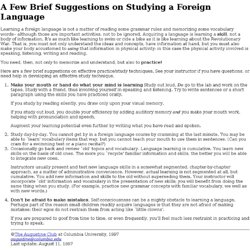 Suggestions on Studying a Foreign Language