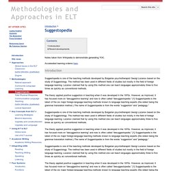 Suggestopedia - Methodologies and Approaches in ELT