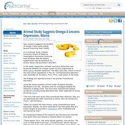 Animal Study Suggests Omega-3 Lessens Depression, Mania