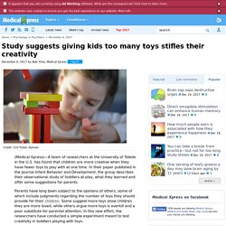 Study suggests giving kids too many toys stifles their creativity