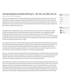 Suicidal Nephew Possibly Moving In - No Job, No GED, No Car - family mental health