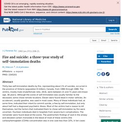 Fire and suicide: a three-year study of self-immolation deaths - PubMed