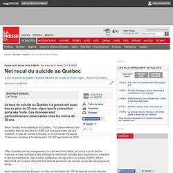 Net recul du suicide au Québec
