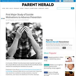 First Major Study of Suicide Motivations to Advance Prevention : News : ParentHerald