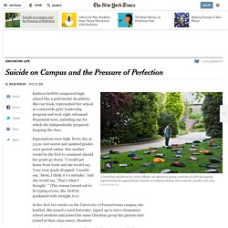 Campus Suicide and the Pressure of Perfection