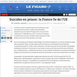 Suicides en prison: la France 5e de l'UE
